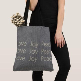 Bolsa Tote Hand-Stitch*-LOVE-JOY-PEACE-Gray--Os Diário-BOLSAS