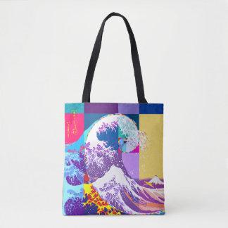 Bolsa Tote Hokusai encontra Fibonacci, estilo do pop art