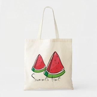Bolsa Tote Horas de verão, sacola vermelha doce do orçamento