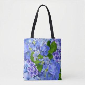 Bolsa Tote Hydrangeas & borboletas azuis