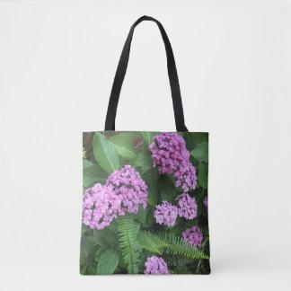 Bolsa Tote Hydrangeas e samambaias do Lilac
