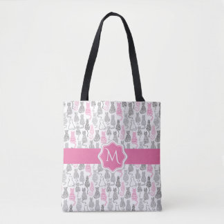 Bolsa Tote Ideias cor-de-rosa e cinzentas de Whimiscal do