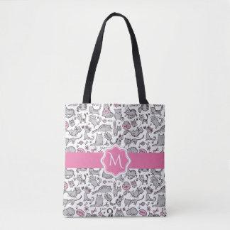 Bolsa Tote Ideias cor-de-rosa e cinzentas de Whimiscal dos