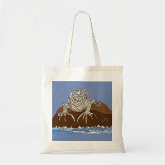 Bolsa Tote Iguana marinha na rocha com caranguejo de eremita
