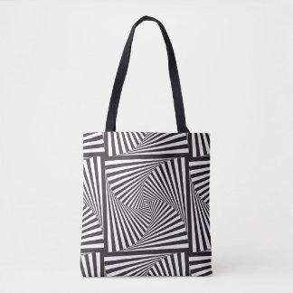 Bolsa Tote Ilusão óptica espiral branca preta bonita