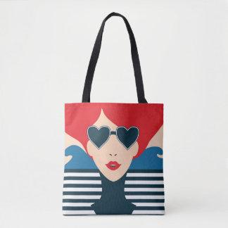 Bolsa Tote Ilustração à moda francesa do chique da forma da