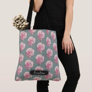 Bolsa Tote Ilustração da aguarela do rosa do rosa com nome