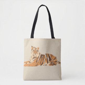 Bolsa Tote Ilustração da arte do polígono do tigre