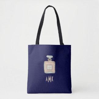Bolsa Tote Ilustração da garrafa de Parfum com iniciais do