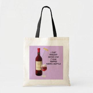 Bolsa Tote Ilustração da garrafa e do vidro de vinho