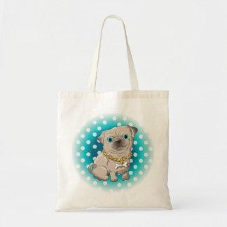 Bolsa Tote Ilustração de um pug bonito do cão