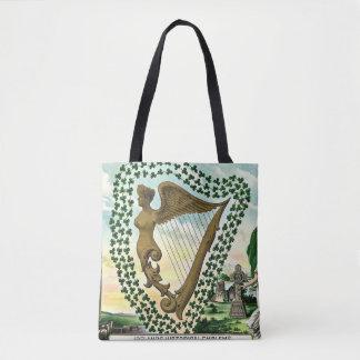Bolsa Tote Ilustração do vintage da harpa da mulher do trevo