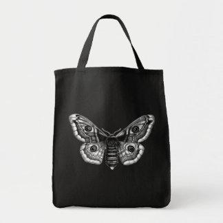 Bolsa Tote Ilustração do vintage de uma traça em preto e