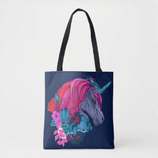 Bolsa Tote Ilustração mágica violeta bonito da fantasia do