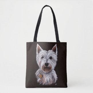 Bolsa Tote Ilustração ocidental do Pastel do cão de Terrier