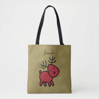 Bolsa Tote Ilustração vermelha da rena do Natal personalizada