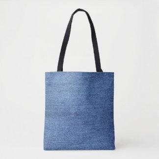 Bolsa Tote Imagem branca azul do olhar da textura da sarja de