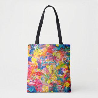 Bolsa Tote Impressão acrílico original da pintura na sacola