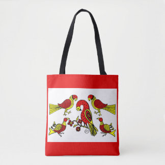 Bolsa Tote Impressão alemão dos pássaros da arte popular de