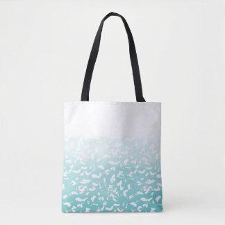 Bolsa Tote Impressão animal branco de Ombre do Aqua bonito