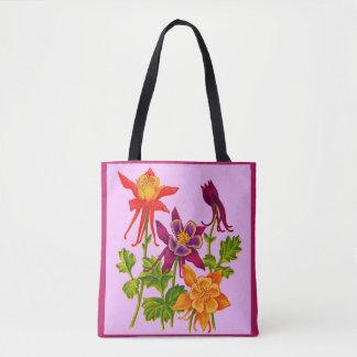 Bolsa Tote impressão aquilégia das flores