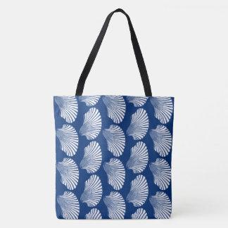 Bolsa Tote Impressão, azuis marinhos e branco de bloco de