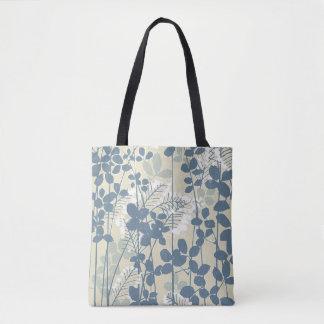 Bolsa Tote Impressão azul floral das flores da arte asiática