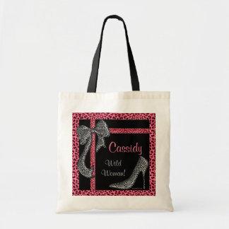 Bolsa Tote Impressão cor-de-rosa da chita com nome no preto