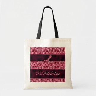 Bolsa Tote Impressão cor-de-rosa feminino da bomba e da chita