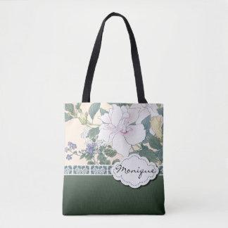 """Bolsa Tote Impressão de bloco de madeira """"hibiscus e"""