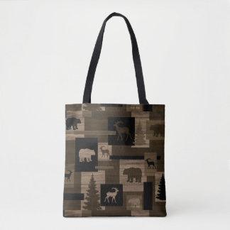 Bolsa Tote Impressão de madeira do urso rústico dos cervos
