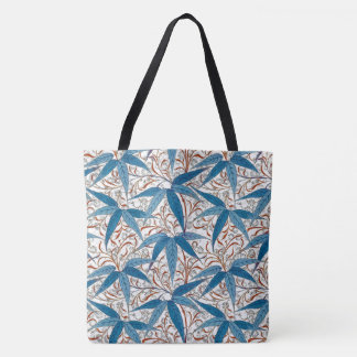 Bolsa Tote Impressão de William Morris, azul da sarja de
