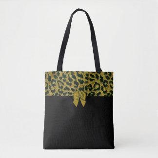 Bolsa Tote Impressão do leopardo e arco Jewelled