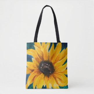 Bolsa Tote Impressão original do girassol na sacola