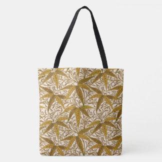 Bolsa Tote Impressão, ouro e creme de bambu de William Morris