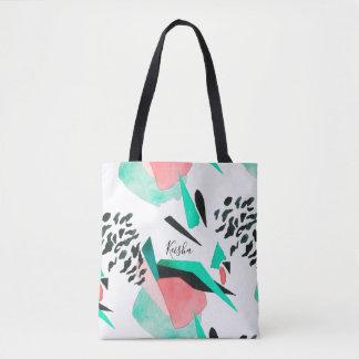 Bolsa Tote Impressão preto do abstrato do coral e do Aqua com