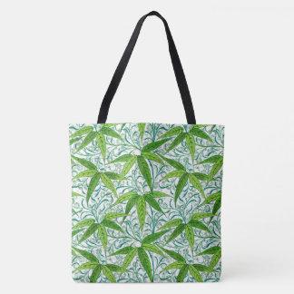 Bolsa Tote Impressão, verde e branco de bambu de William