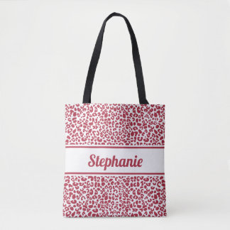 Bolsa Tote Impressão vermelho e branco na moda do leopardo