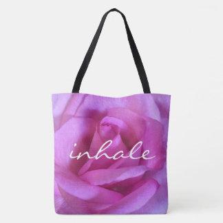 """Bolsa Tote """"Inale"""" a foto roxa do fim-acima do rosa do rosa"""
