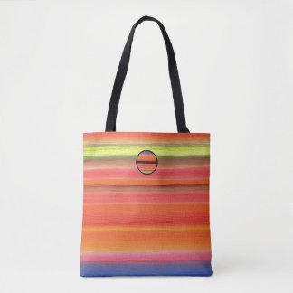 Bolsa Tote Inclinação da cor da listra do arco-íris, cores do