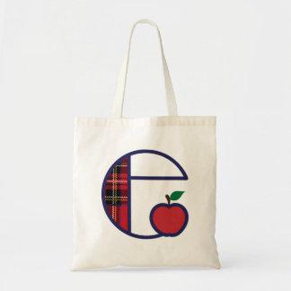 Bolsa Tote Inicial E da sacola do monograma de Apple do