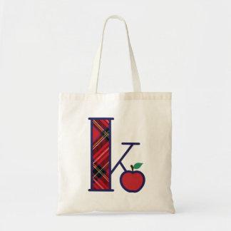 Bolsa Tote Inicial K da sacola do monograma de Apple do