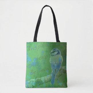 Bolsa Tote Inspire o amor acreditam a sacola do pássaro