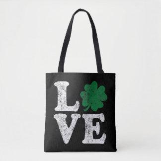 Bolsa Tote Irlandês do trevo do AMOR do Dia de São Patrício
