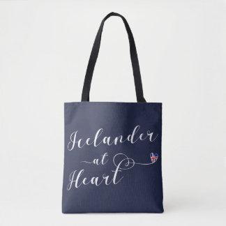 Bolsa Tote Islandês no saco customizável do coração, Islândia