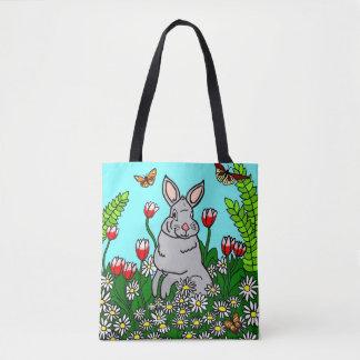 Bolsa Tote Jardim do coelho do primavera
