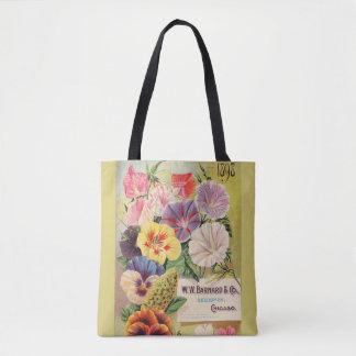 Bolsa Tote jardinando, pacote da semente do vintage, flores,
