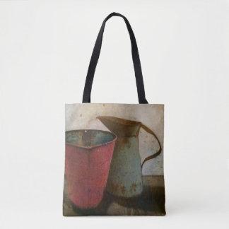 Bolsa Tote jarro e balde oxidados velhos do leite