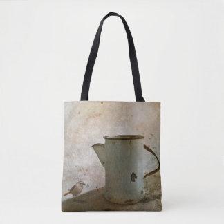 Bolsa Tote jarro oxidado velho do leite