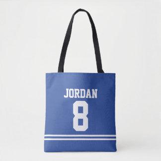 Bolsa Tote Jérsei azul do futebol com nome e número feitos